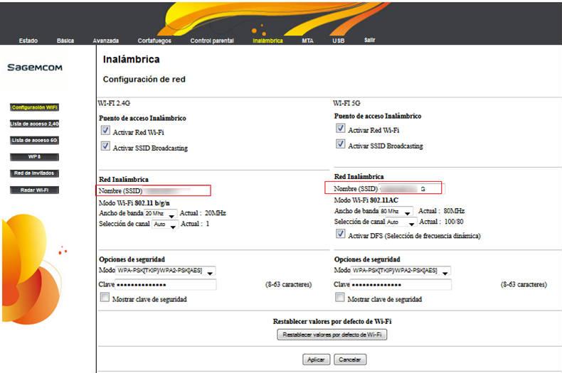 Modificar el nombre y clave de WiFi de modem Sagemcom