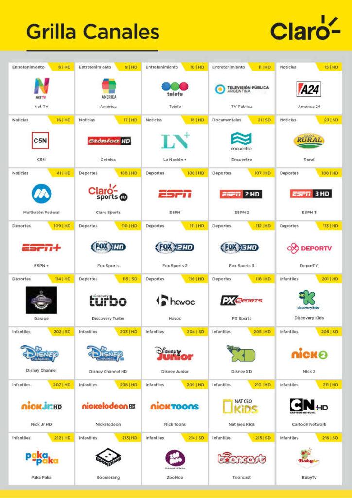 Grilla de canales de televisión de Claro Argentina. Foto: EL DESTAQUE / Claro