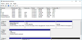 Ventana de Administración de Discos en Windows 10.