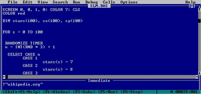 QBasic, una variante del Quick Basic. Foto: Captura