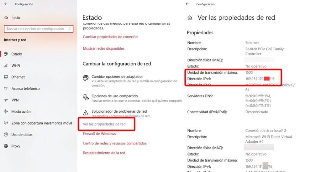 Propiedades de red Windows 10. Foto: EL DESTAQUE