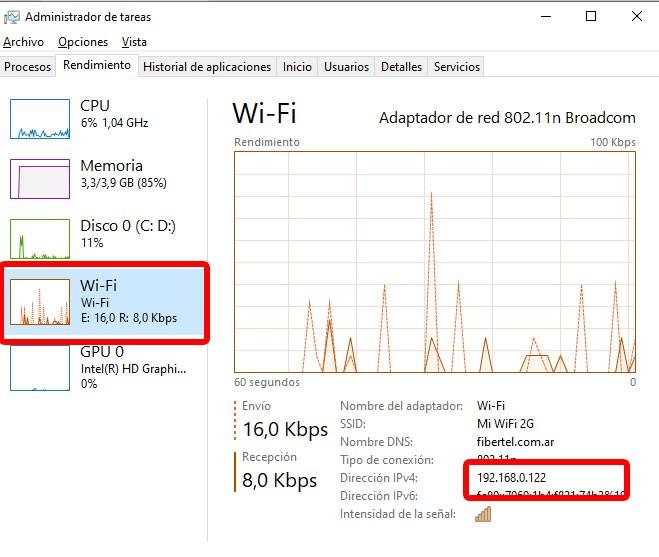 Viendo la dirección IP privada desde el Administrador de tareas. Foto: EL DESTAQUE