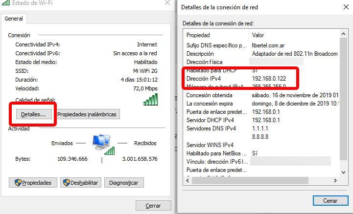 Ejemplo de cómo acceder a nuestra dirección IP privada desde el Panel de Control. Foto: EL DESTAQUE