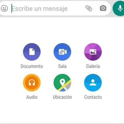 Distintas opciones de adjuntar en Whatsapp.