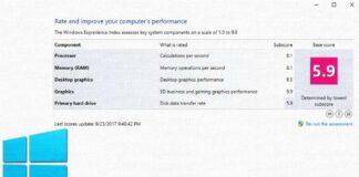 Evaluación de experiencia en Windows 10.