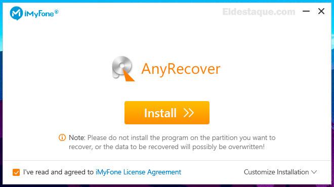 AnyRecover - Proceso de instalación. Foto: eldestaque.com