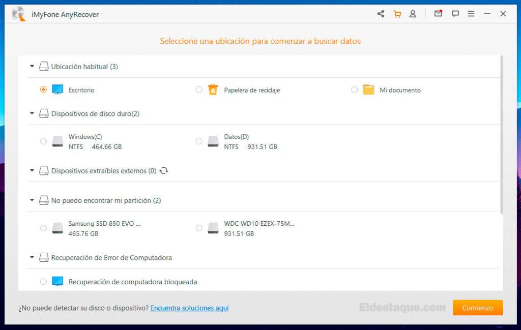 Interface de la aplicación AnyRecover. Foto: eldestaque.com