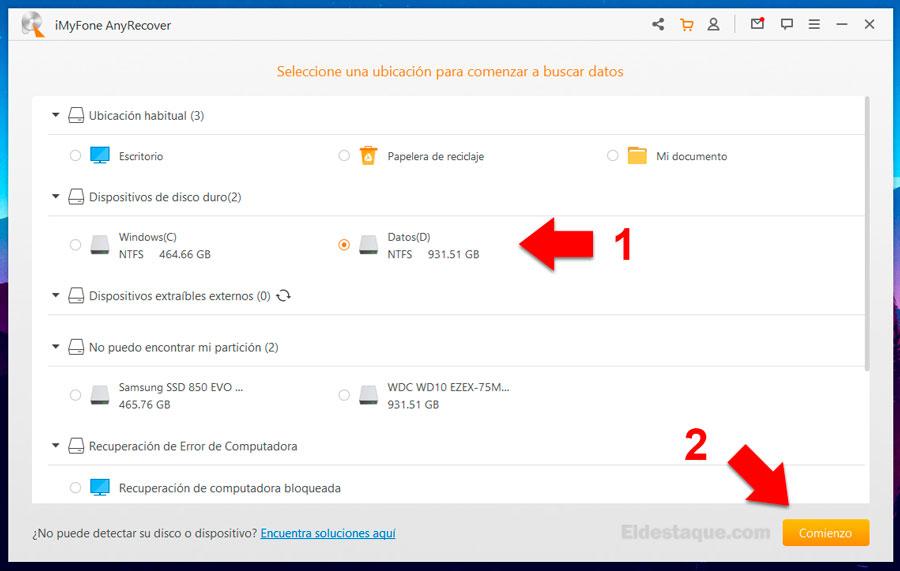 Proceso de recuperación de archivos con AnyRecover. Foto: eldestaque.com