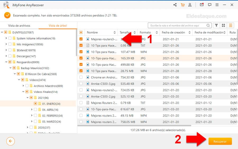 Recuperar varios archivos con AnyRecover. Foto: eldestaque.com